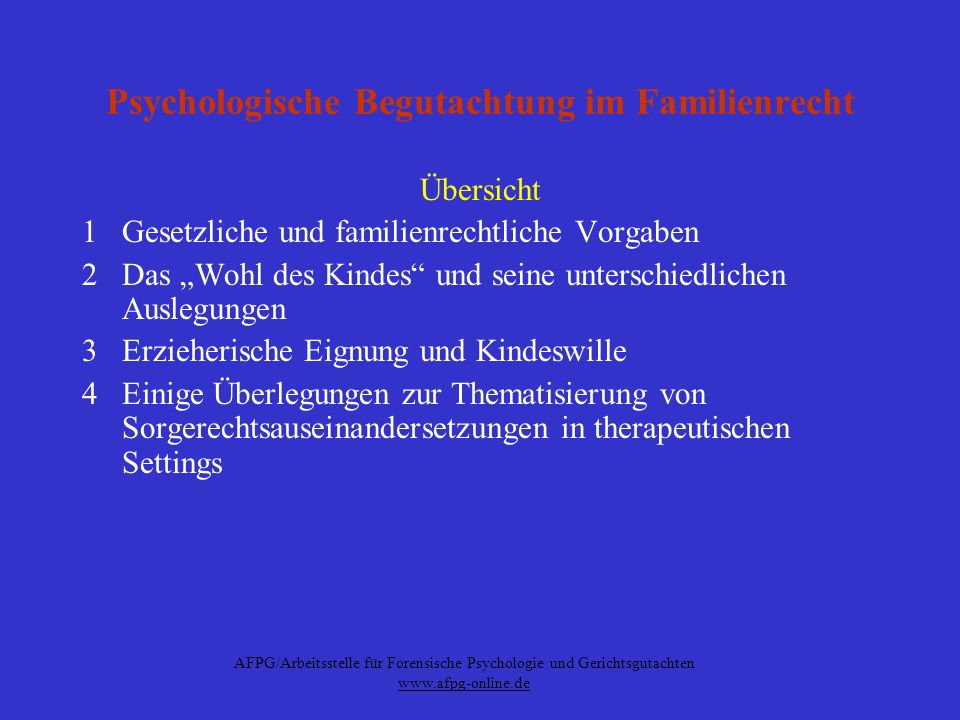 Psychologische Begutachtung im Familienrecht