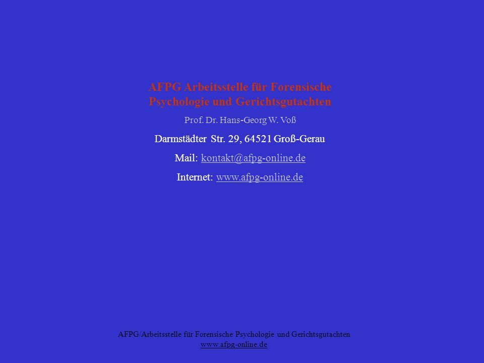 AFPG Arbeitsstelle für Forensische Psychologie und Gerichtsgutachten