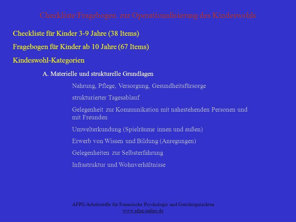 Checkliste/Fragebogen zur Operationalisierung des Kindeswohls