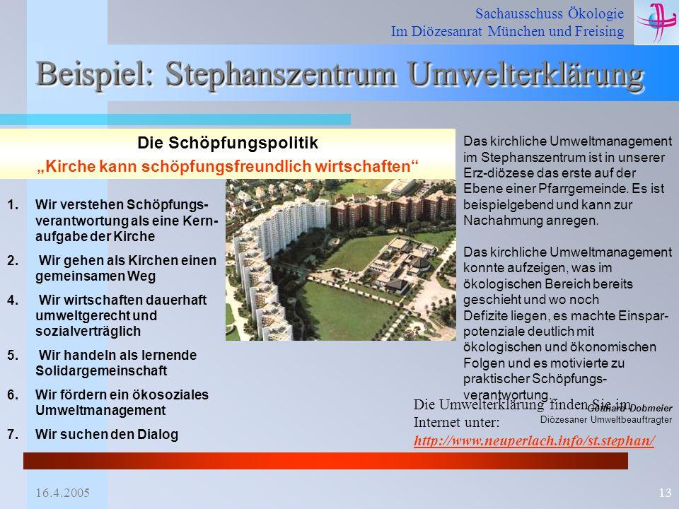 Beispiel: Stephanszentrum Umwelterklärung