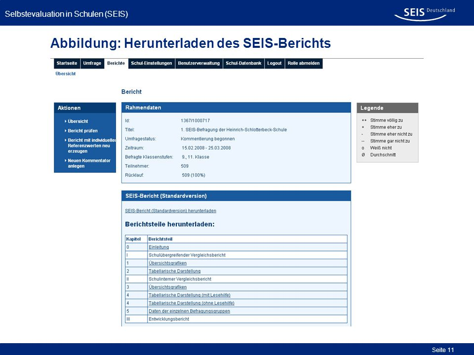 Abbildung: Herunterladen des SEIS-Berichts
