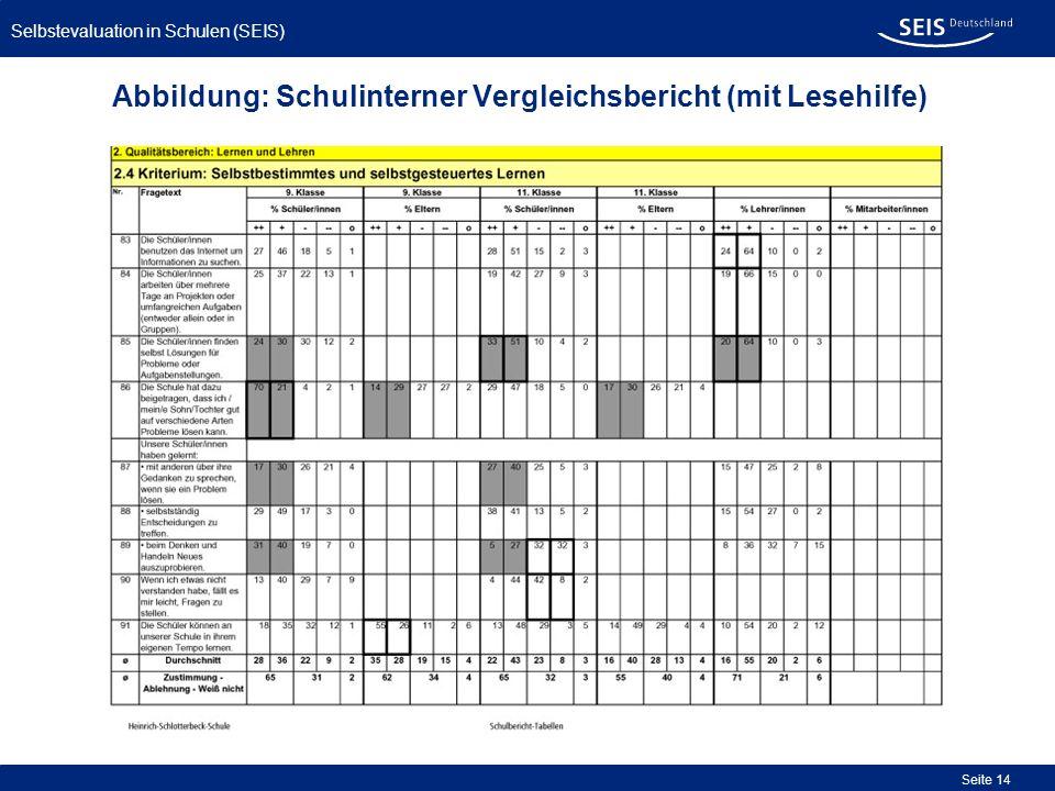 Abbildung: Schulinterner Vergleichsbericht (mit Lesehilfe)