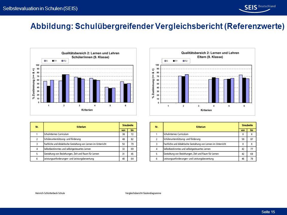Abbildung: Schulübergreifender Vergleichsbericht (Referenzwerte)