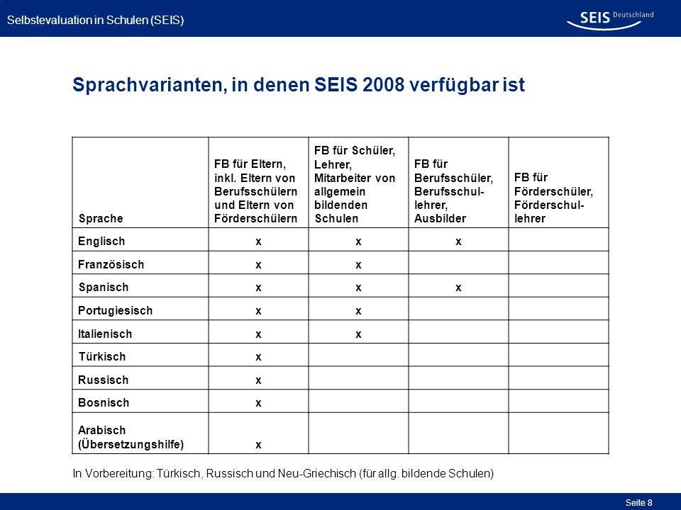 Sprachvarianten, in denen SEIS 2008 verfügbar ist