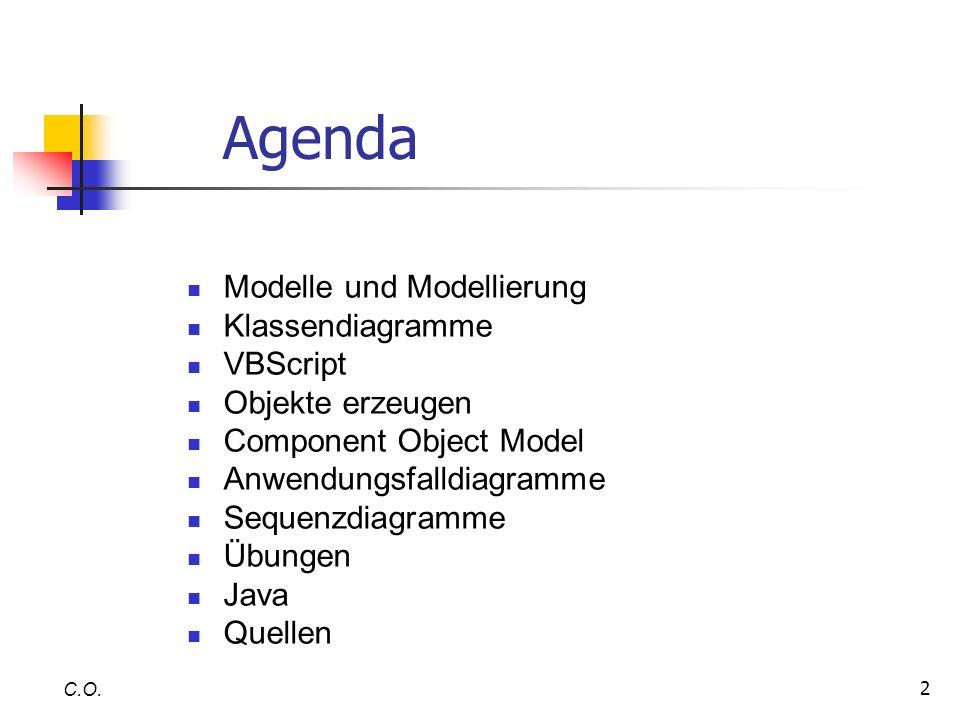Agenda Modelle und Modellierung Klassendiagramme VBScript