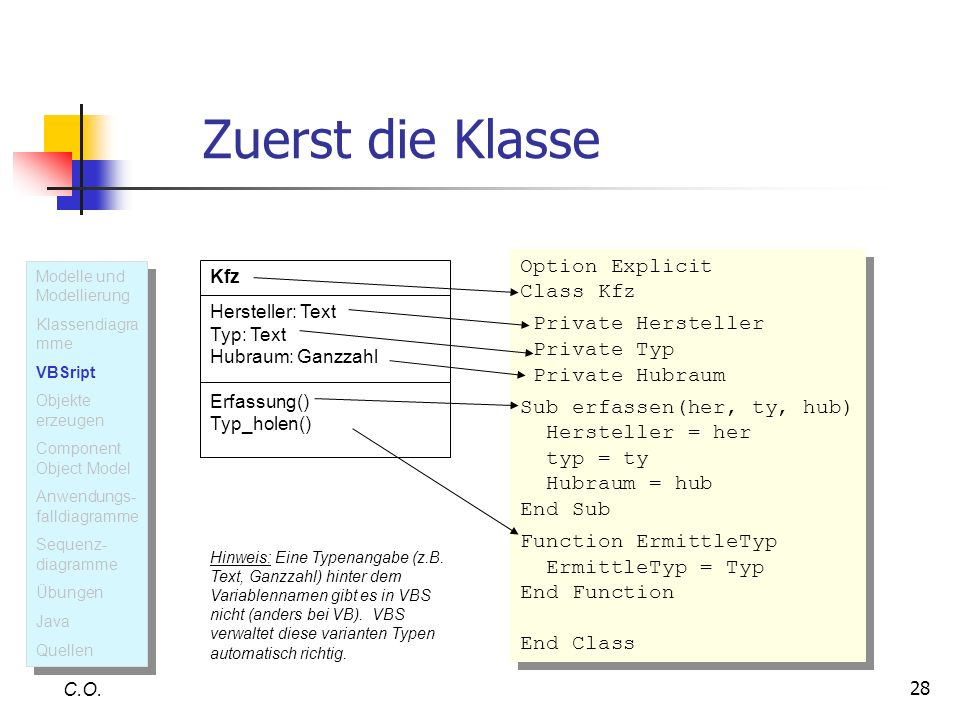 Zuerst die Klasse Option Explicit Class Kfz Private Hersteller