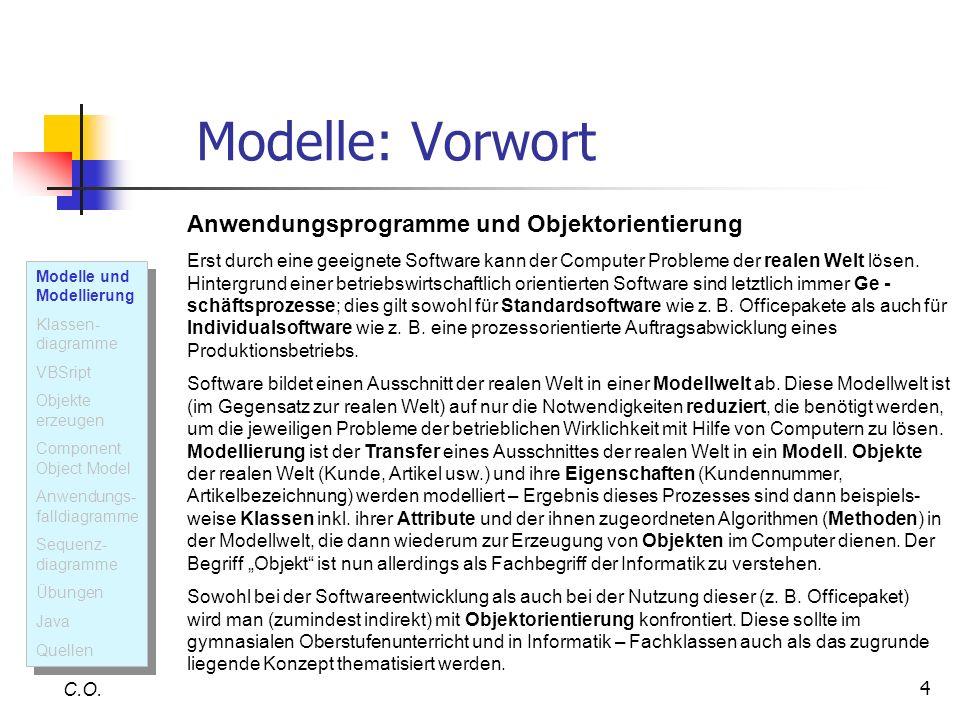 Modelle: Vorwort Anwendungsprogramme und Objektorientierung