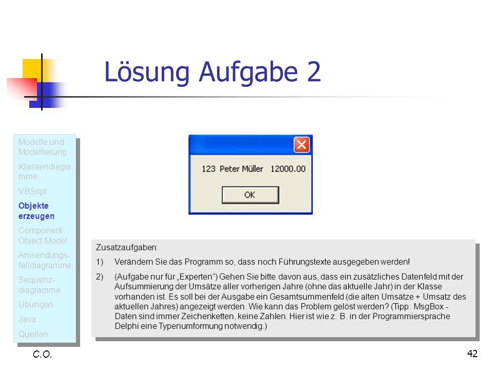 Lösung Aufgabe 2 C.O. Modelle und Modellierung Klassendiagramme