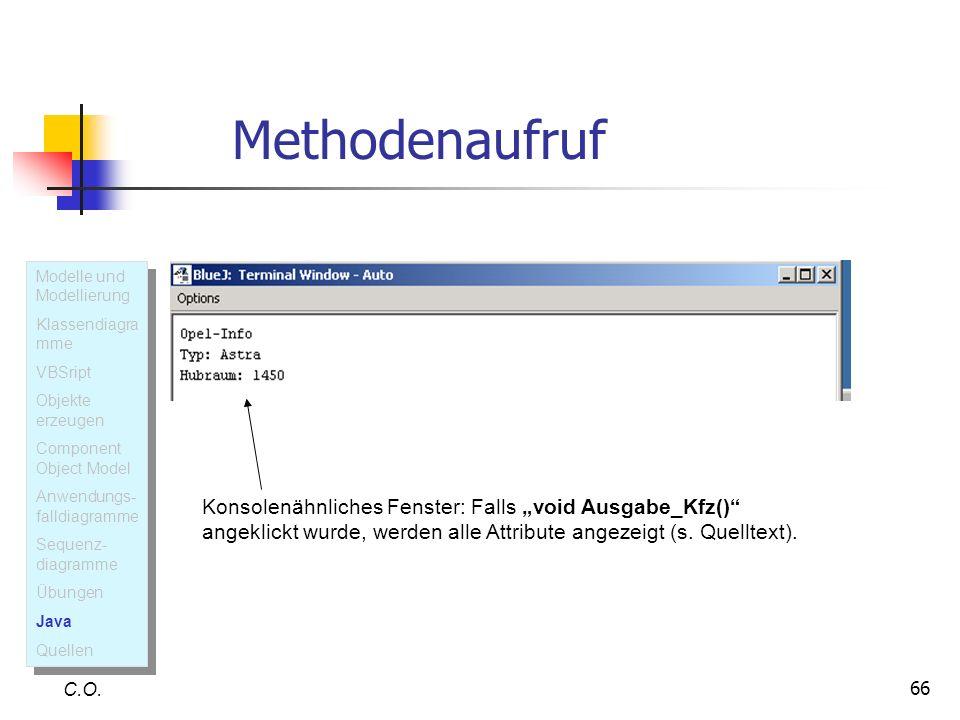 Methodenaufruf Modelle und Modellierung. Klassendiagramme. VBSript. Objekte erzeugen. Component Object Model.