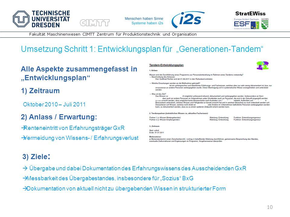 """Umsetzung Schritt 1: Entwicklungsplan für """"Generationen-Tandem"""