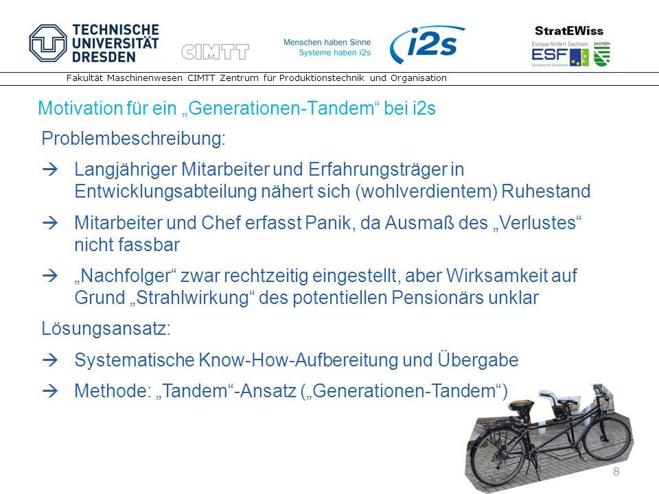 """Motivation für ein """"Generationen-Tandem bei i2s"""