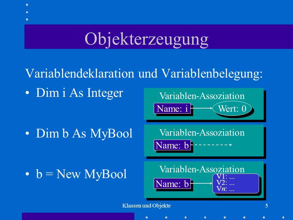 Objekterzeugung Variablendeklaration und Variablenbelegung: