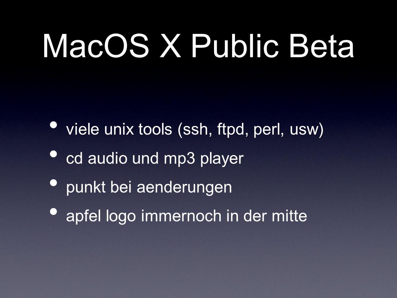 MacOS X Public Beta viele unix tools (ssh, ftpd, perl, usw)