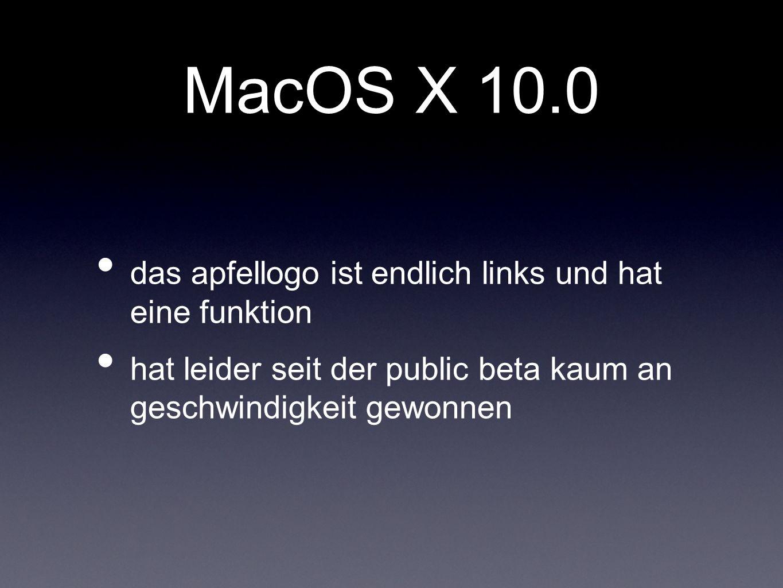 MacOS X 10.0 das apfellogo ist endlich links und hat eine funktion