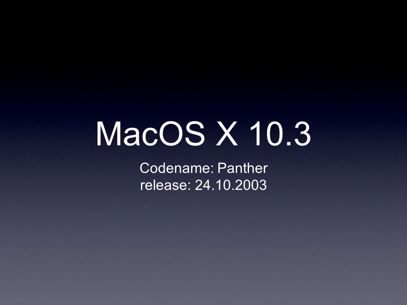 MacOS X 10.3 Codename: Panther release: 24.10.2003