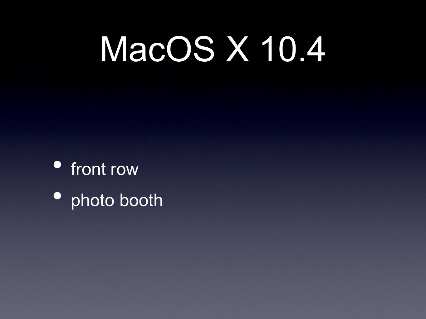 MacOS X 10.4 front row photo booth