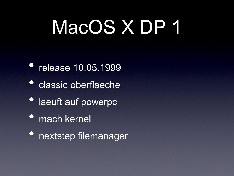MacOS X DP 1 release 10.05.1999 classic oberflaeche laeuft auf powerpc