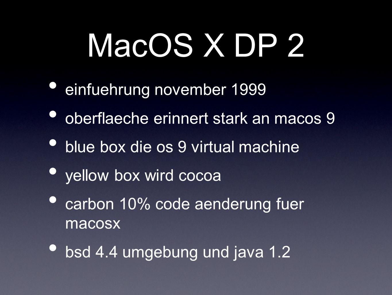 MacOS X DP 2 einfuehrung november 1999