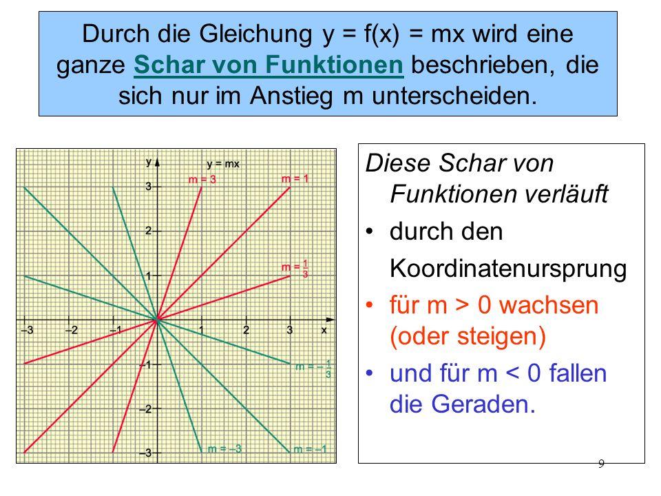 Durch die Gleichung y = f(x) = mx wird eine ganze Schar von Funktionen beschrieben, die sich nur im Anstieg m unterscheiden.