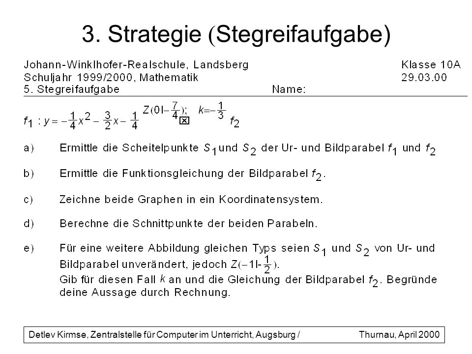3. Strategie (Stegreifaufgabe)
