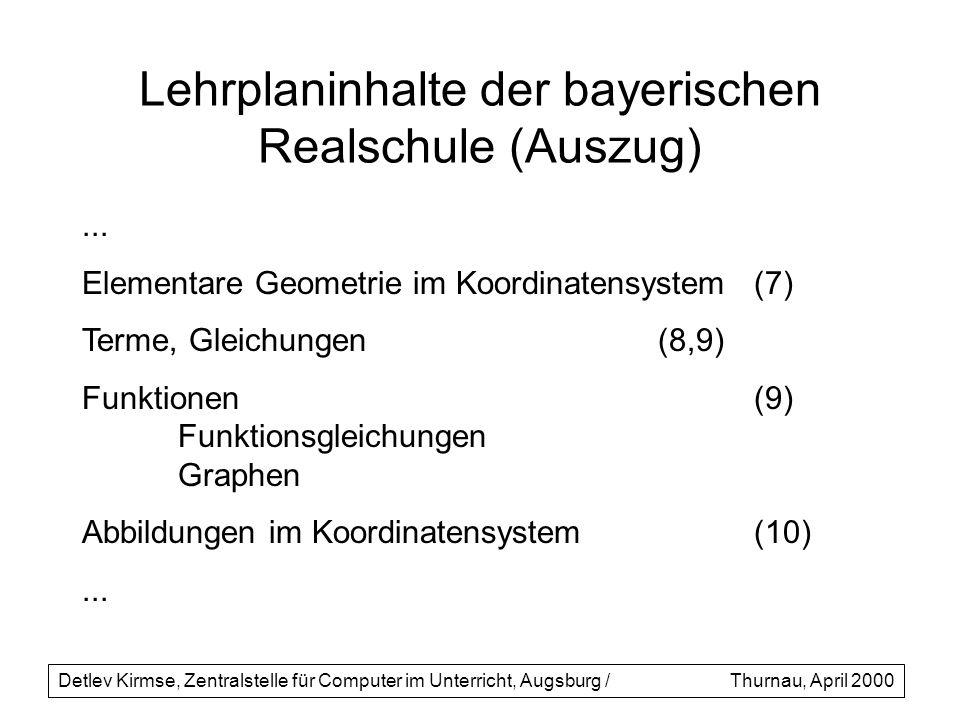 Lehrplaninhalte der bayerischen Realschule (Auszug)