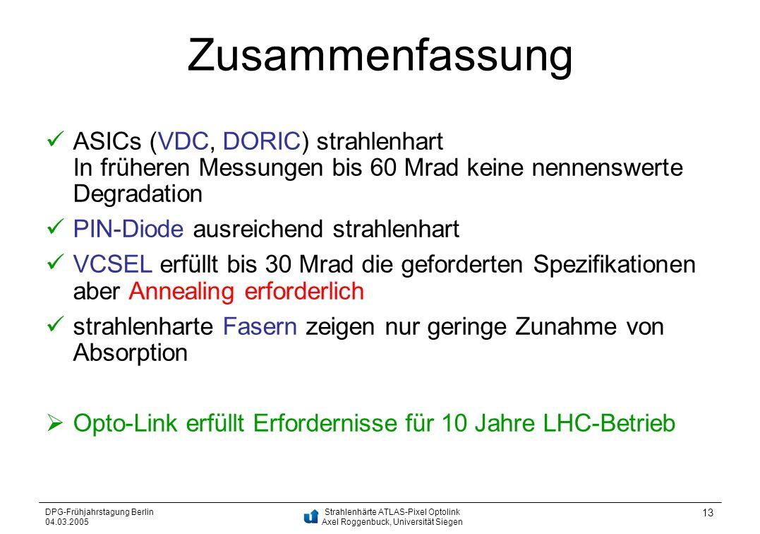 Zusammenfassung ASICs (VDC, DORIC) strahlenhart In früheren Messungen bis 60 Mrad keine nennenswerte Degradation.