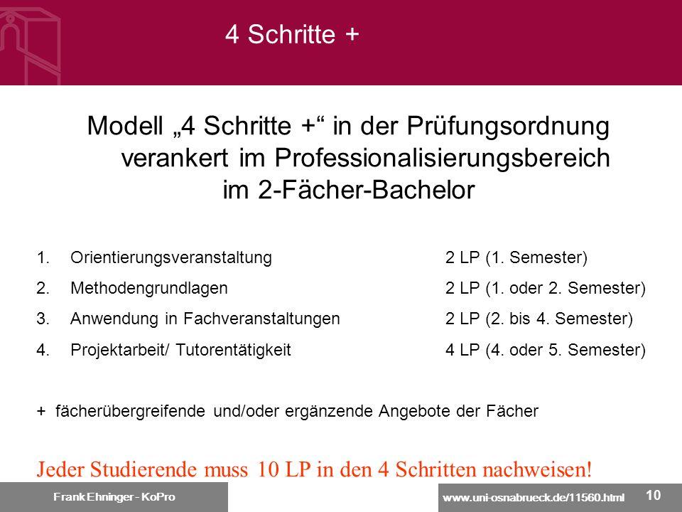 """4 Schritte + Modell """"4 Schritte + in der Prüfungsordnung verankert im Professionalisierungsbereich."""