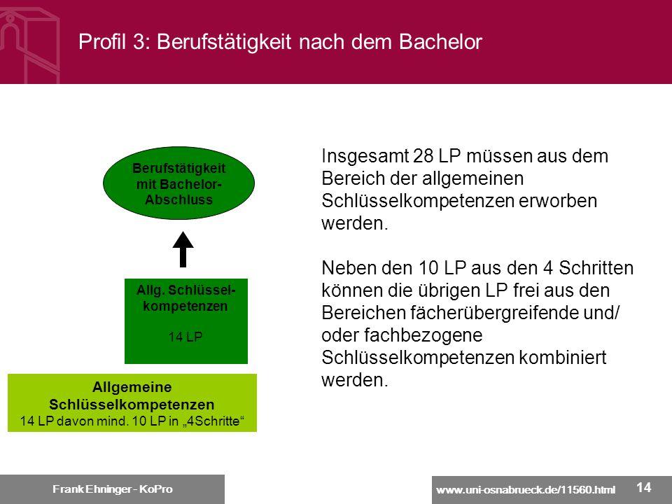 Profil 3: Berufstätigkeit nach dem Bachelor
