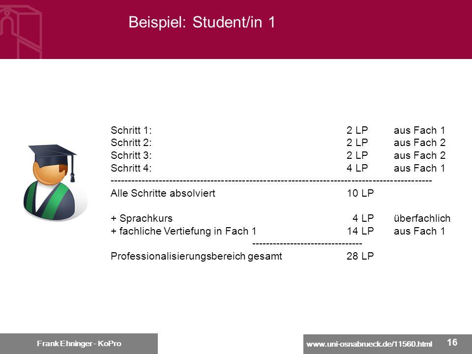 Beispiel: Student/in 1 Schritt 1: 2 LP aus Fach 1