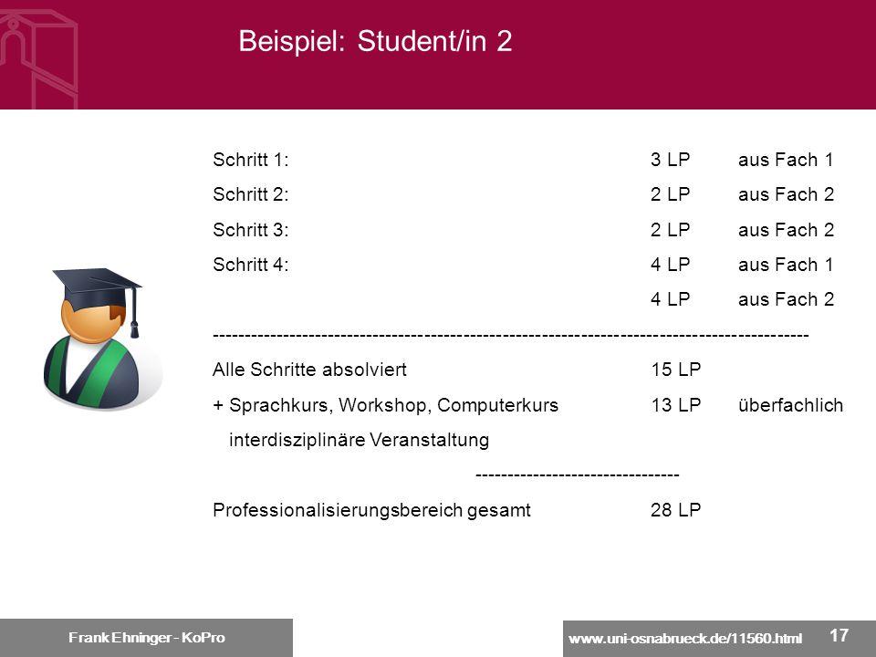 Beispiel: Student/in 2 Schritt 1: 3 LP aus Fach 1