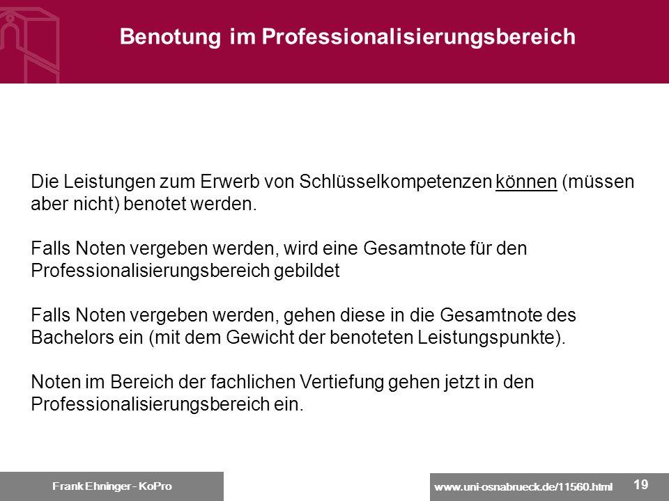 Benotung im Professionalisierungsbereich