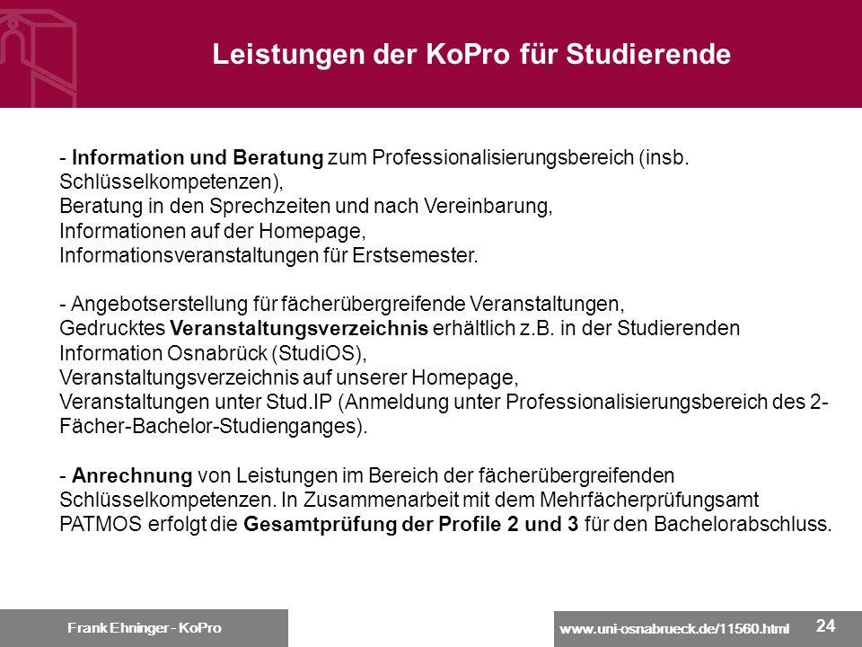 Leistungen der KoPro für Studierende