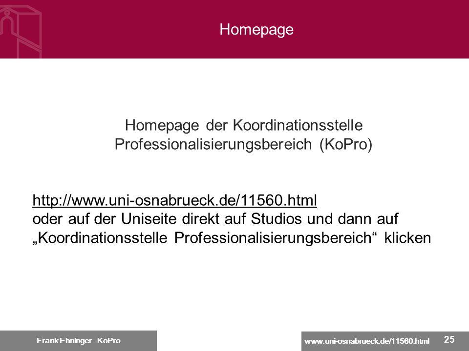 Homepage der Koordinationsstelle Professionalisierungsbereich (KoPro)