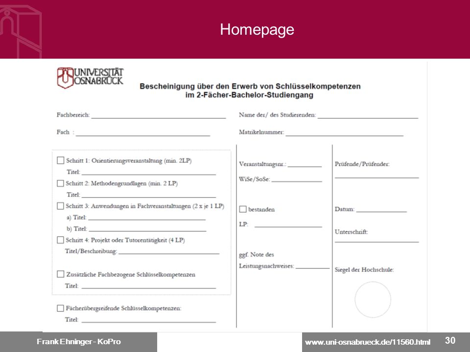 Homepage Frank Ehninger - KoPro 30 30