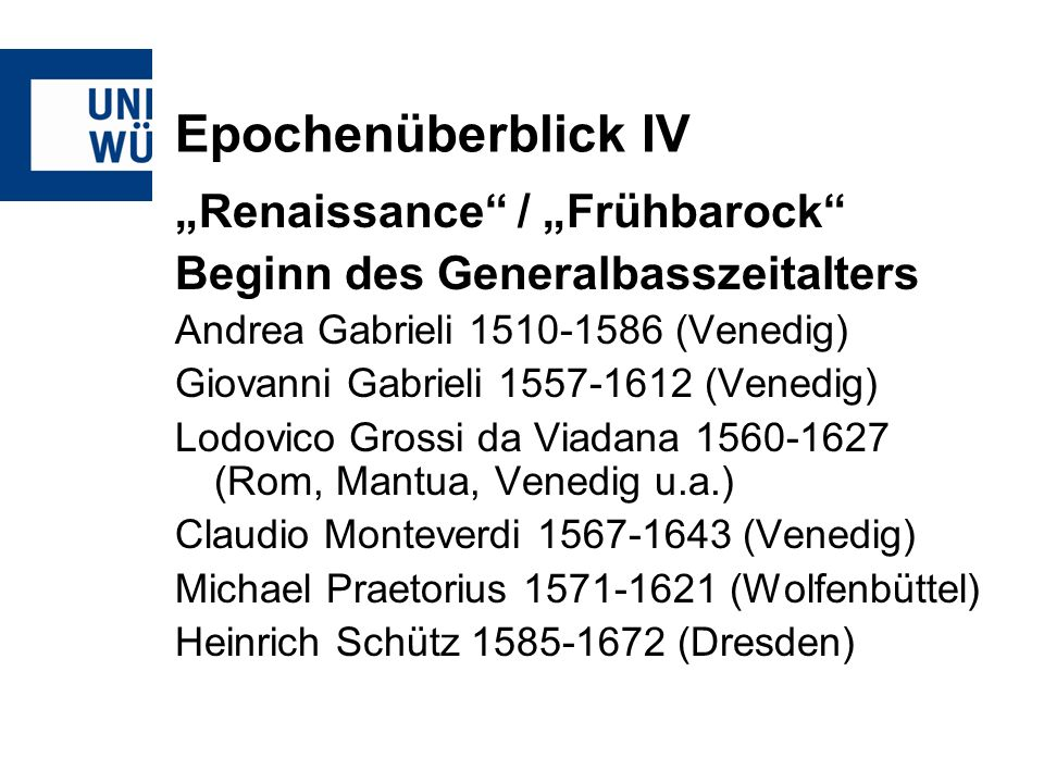 "Epochenüberblick IV ""Renaissance / ""Frühbarock"