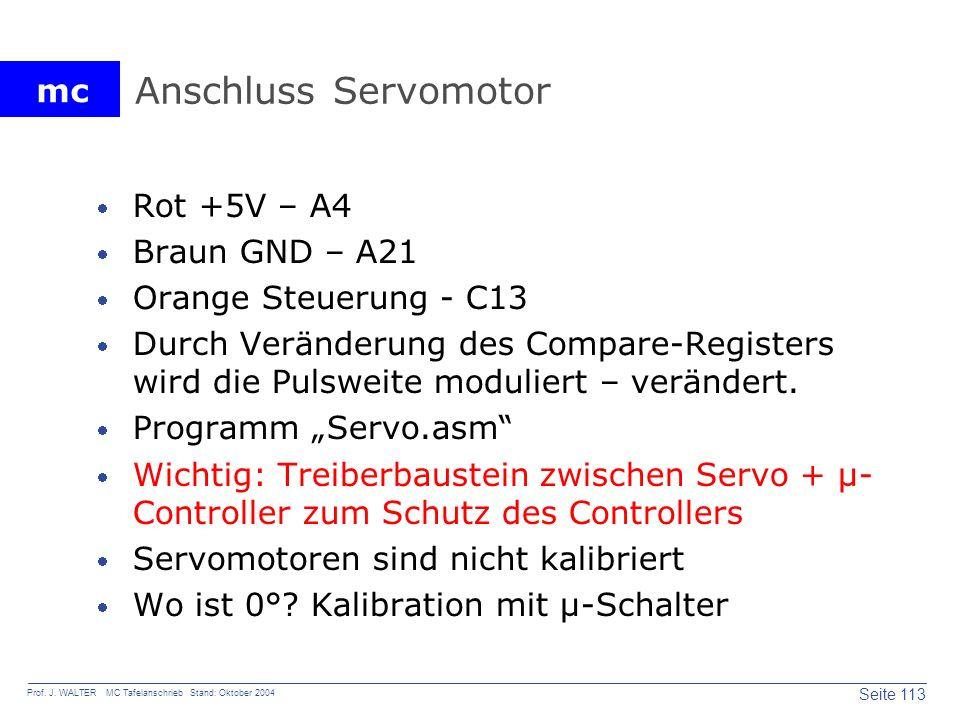 Anschluss Servomotor Rot +5V – A4 Braun GND – A21