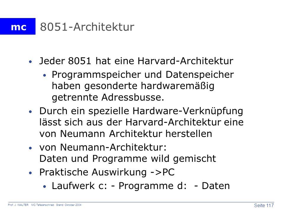 8051-Architektur Jeder 8051 hat eine Harvard-Architektur