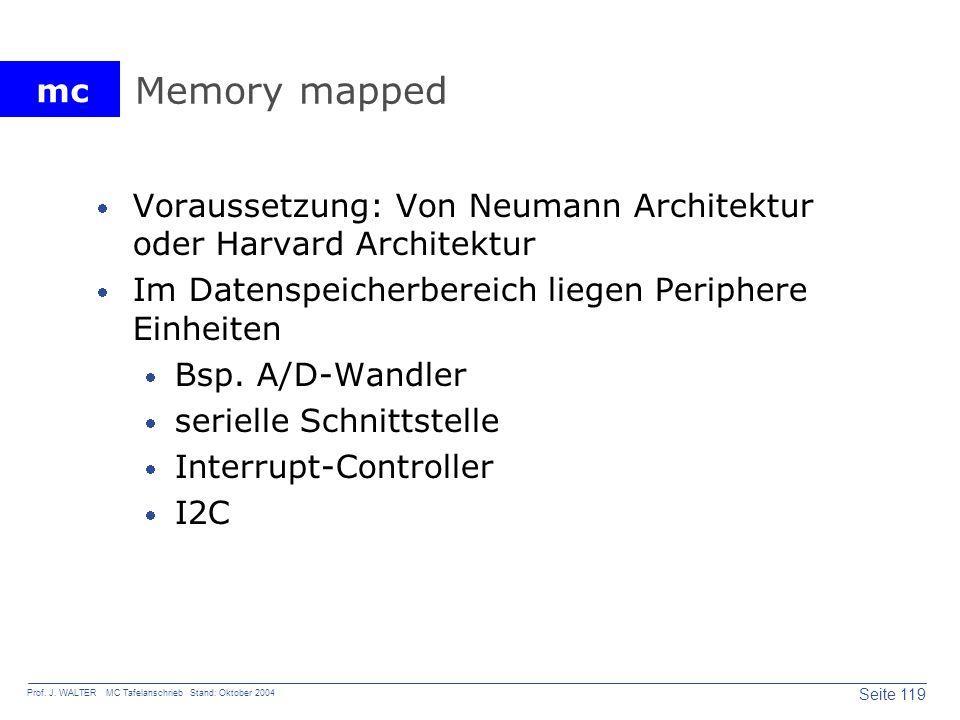 Memory mapped Voraussetzung: Von Neumann Architektur oder Harvard Architektur. Im Datenspeicherbereich liegen Periphere Einheiten.