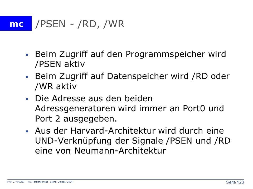 /PSEN - /RD, /WR Beim Zugriff auf den Programmspeicher wird /PSEN aktiv. Beim Zugriff auf Datenspeicher wird /RD oder /WR aktiv.