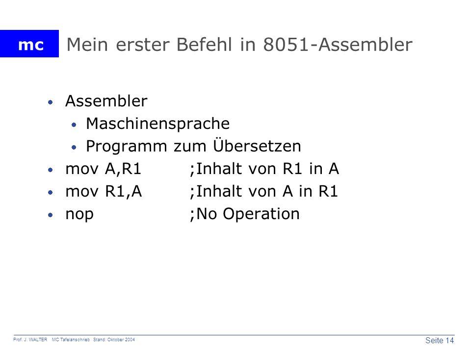 Mein erster Befehl in 8051-Assembler