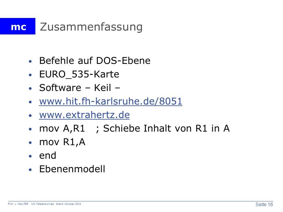 Zusammenfassung Befehle auf DOS-Ebene EURO_535-Karte Software – Keil –