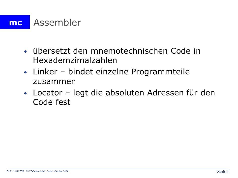 Assembler übersetzt den mnemotechnischen Code in Hexademzimalzahlen