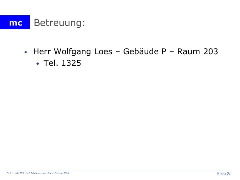 Betreuung: Herr Wolfgang Loes – Gebäude P – Raum 203 Tel. 1325