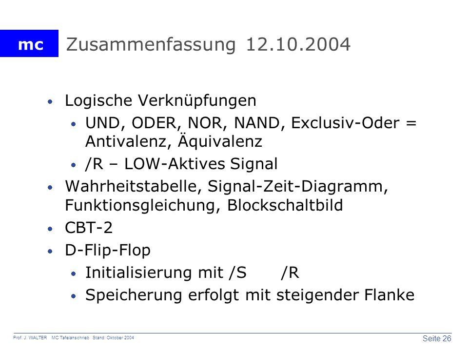 Zusammenfassung 12.10.2004 Logische Verknüpfungen