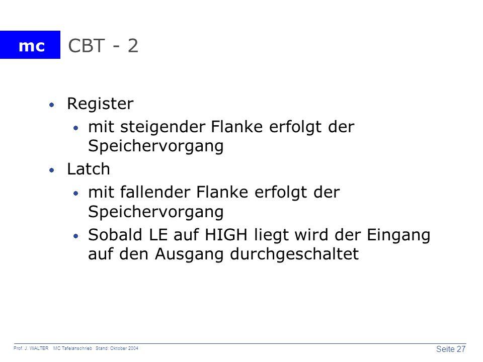 CBT - 2 Register mit steigender Flanke erfolgt der Speichervorgang