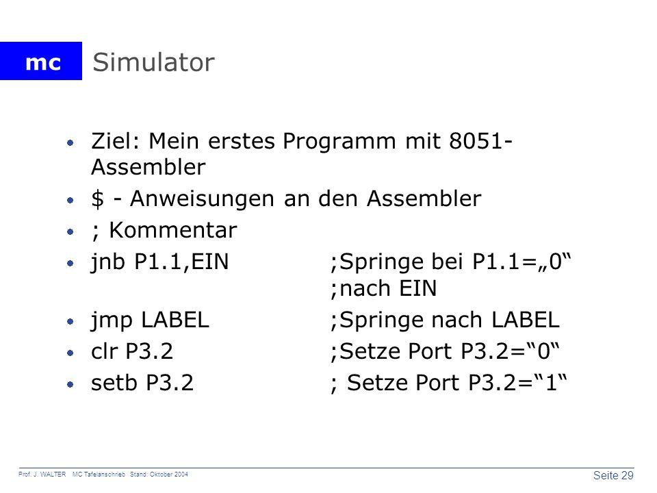 Simulator Ziel: Mein erstes Programm mit 8051-Assembler