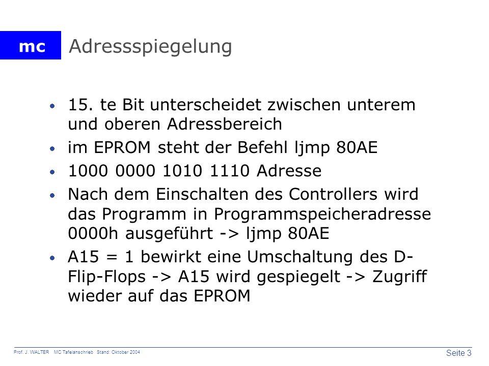 Adressspiegelung 15. te Bit unterscheidet zwischen unterem und oberen Adressbereich. im EPROM steht der Befehl ljmp 80AE.
