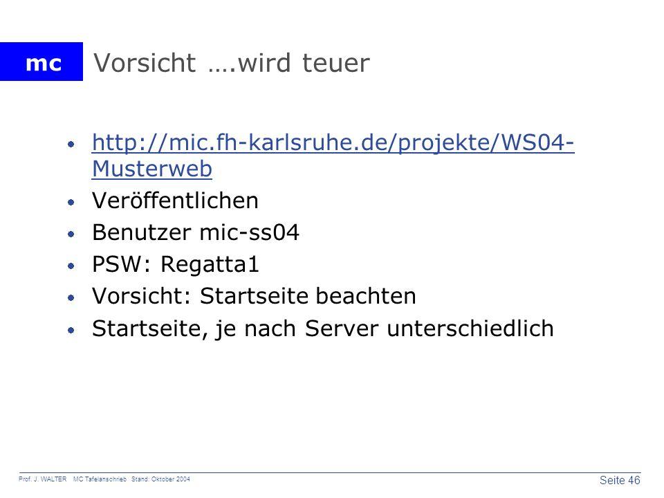 Vorsicht ….wird teuer http://mic.fh-karlsruhe.de/projekte/WS04-Musterweb. Veröffentlichen. Benutzer mic-ss04.