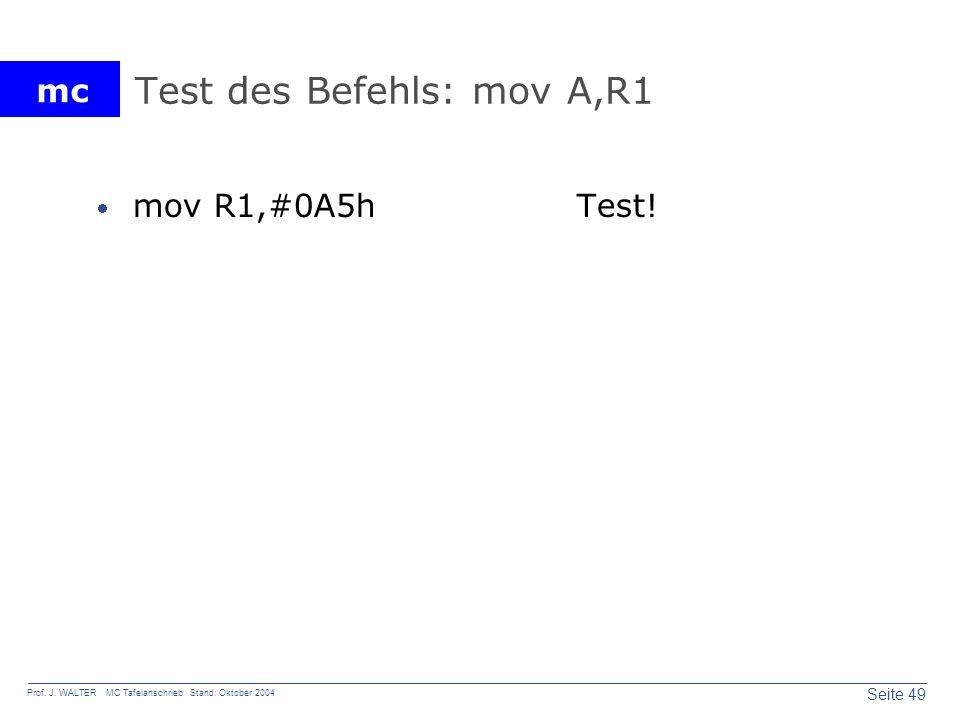 Test des Befehls: mov A,R1