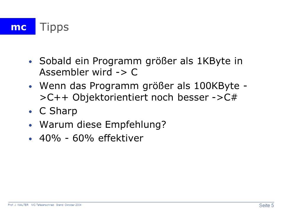 Tipps Sobald ein Programm größer als 1KByte in Assembler wird -> C